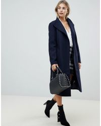 Fashion Union - Funnel Neck Coat With Belt - Lyst