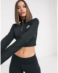 Nike Air - Top côtelé à manches longues et col montant - Noir