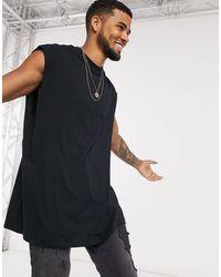 ASOS Oversized Longline Mouwloos T-shirt - Zwart