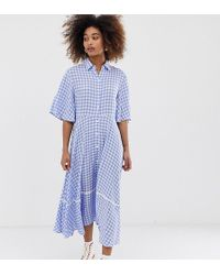 Sister Jane Exclusive Button Through Midi Shirt Dress With Full Skirt - Blue