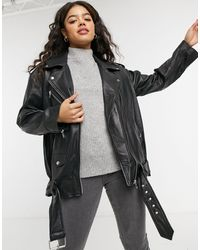 ASOS Oversized Leather Biker Jacket - Black