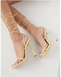 Public Desire Lacey Heeled Sandals With Ankle Tie - White
