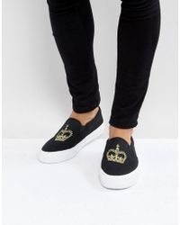 ASOS - Asos Slip On Plimsolls In Black Canvas With Crown Embroidery - Lyst