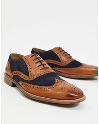 Moss Bros Moss London - Chaussures richelieu à bordures contrastantes - Marron