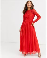 Chi Chi London Lace Maxi Dress With Scalloped Back - Red