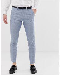Jack & Jones Pantalón de traje de corte estándar en lino azul Premium