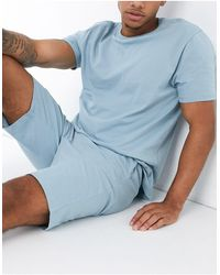 ASOS – Lounge-Pyjamaset mit T-Shirt und Shorts - Blau