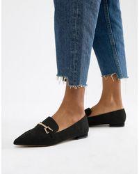ASOS Lance Pointed Loafer Ballet Flats - Black