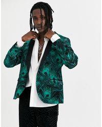Twisted Tailor Super Skinny Velvet Blazer With Peacock Print - Green