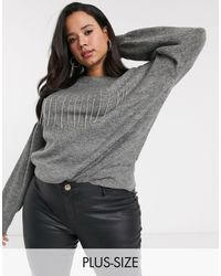 Simply Be Sweater With Diamante Fringing - Gray