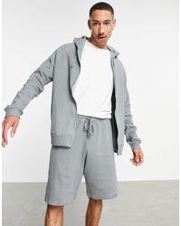 ASOS Lounge Hoodie And Short Pajama Set - Gray