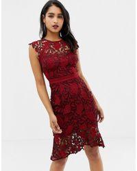 Lipsy - Crochet Lace Pencil Dress With Flippy Hem In Red - Lyst
