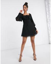 Missguided Square Neck Dobby Mesh Skater Dress - Black