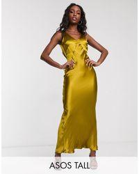 ASOS Asos Design Tall Panelled Satin Maxi Dress With Cowl Back-gold - Green