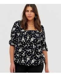 Simply Be Square Neck Blouse In Black Floral