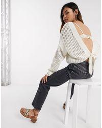 ASOS – Pullover mit Häkeldesign und rückseitigem Bindeband - Mehrfarbig
