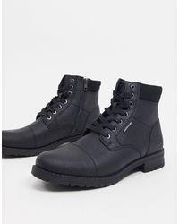 Jack & Jones - Черные Ботинки Из Искусственной Кожи На Шнуровке -черный - Lyst