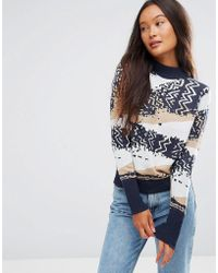 Shae - Cotton Abstract Knit Sweater - Lyst