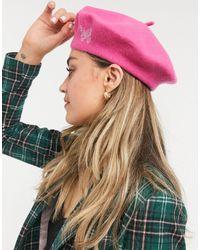 ASOS - Розовый Берет Из Шерсти С Вышивкой В Виде Бабочки - Lyst