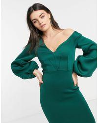 ASOS Fallen Shoulder Midi Dress With Balloon Sleeve - Green