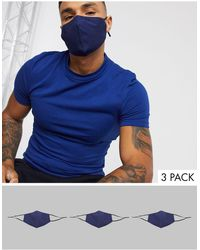 ASOS 3 Pack Face Covering With Adjustable Straps And Nose Clip - Blue