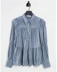 & Other Stories Серая Фланелевая Рубашка С Вышивкой Ришелье -серый
