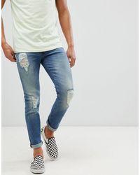 ASOS 12.5oz Skinny Jeans Met Grove Scheuren - Blauw