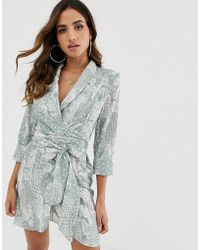 ASOS - Mini Tux Dress With Self Tie Belt In Snake Print - Lyst