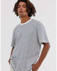 Brooklyn Supply Co. Drop Shoulder Oversized T-shirt With Stripes - Natural