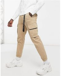 Bershka Cargo Trousers With Key Chain - Natural
