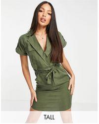 Noisy May Tie Waist Shirt Dress - Green