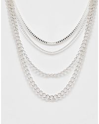 ASOS Short Layered Neckchain Pack - Metallic