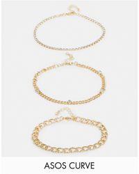 ASOS Набор Из 3 Золотистых Браслетов Со Стразами - Многоцветный