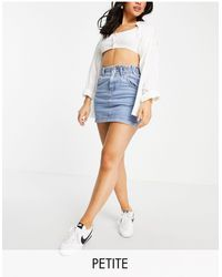 Topshop Unique Mid Blue Paperbag Denim Skirt