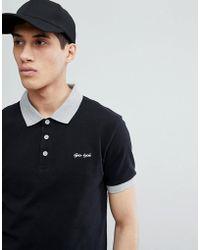 Gio Goi - Polo In Black With Stripe Under Collar - Lyst
