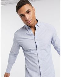 Jack & Jones Светло-синяя Облегающая Рубашка Из Материала С Добавлением Льна Essentials-синий
