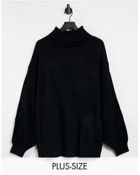 Missguided Roll Neck Jumper With Cable Sleeve - Black