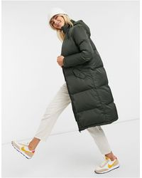 Brave Soul Cello Maxi Longline Puffer Jacket - Green