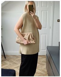 Glamorous Exclusive Oversized Slouchy Pillow Clutch Bag - Natural
