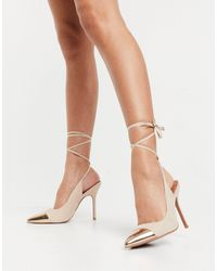 ASOS Peachy Tie Leg High Heels - Natural
