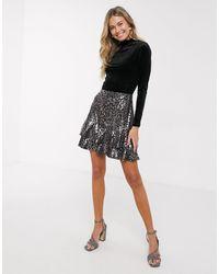 Oasis Sequin Tiered Mini Skirt - Metallic