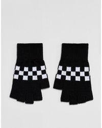 ASOS - Fingerless Gloves In Black With Checkerboard Design - Lyst