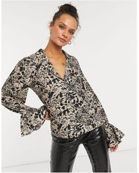 In The Style X Shaughna Plunge Front Top With Fluted Sleeve - Multicolor