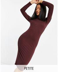 Miss Selfridge Midi Dress In Burgundy-neutral - Purple