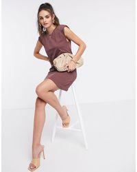 Stradivarius Коричневое Платье С Подплечниками -коричневый