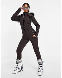 ASOS 4505 Ski Fitted Belted Ski Suit With Fur Faux Hood - Brown
