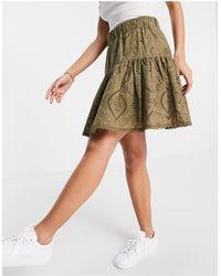 Y.A.S Mini-jupe d'ensemble en broderie anglaise - Kaki - Vert