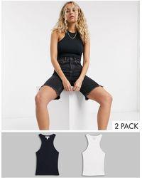 TOPSHOP 2 Pack Racer Vests - Black