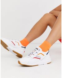 Ellesse Contest Contrast Leather Trainers - White