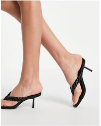 New Look Plaited Thong Mule - Black